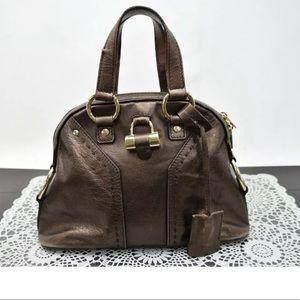 Ysl Yves Saint Laurent muse metallic tote bag